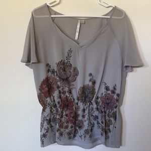 Gray Floral Blouse by Lauren Conrad